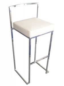bar stool white padded for hire